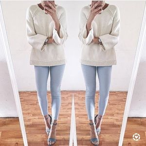 Light blue cropped jean leggings